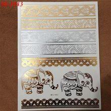 Novo Ouro Indiano Elefante tatuagens Etiqueta do Tatuagem Temporária Sexy Flash Do Tatuagem Body Art \ Metálico Pulseiras Moda Falsa Tatuagem(China (Mainland))