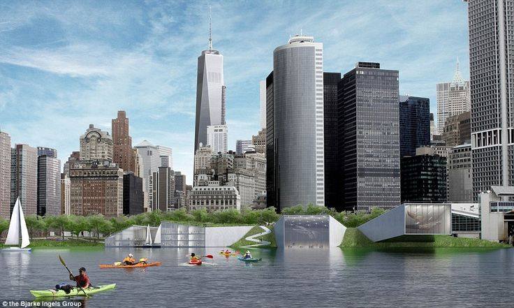 The flooded defences should prevent flooding like that scene seen in Manhattan in the wake of Hurricane Sandy in 2012 and also double as leisure amenities
