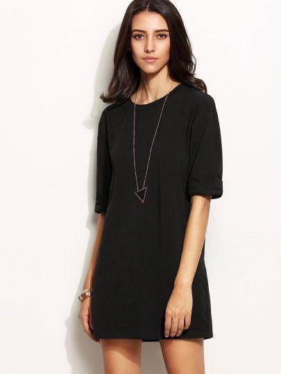 Black Drop Shoulder Roll Sleeve Tee Dress