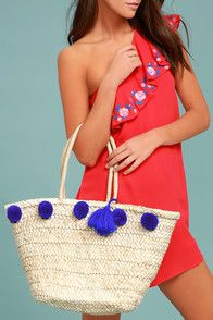 Byron Bay Beige and Blue Woven Pompom Tote