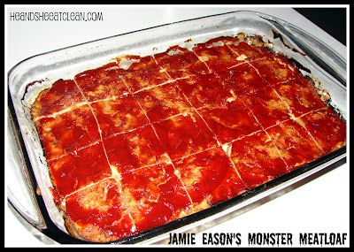 Jamie Eason's Monster Meatloaf   1 1/2 cups chopped onion  red peppers  1 tsp salt  1 tsp pepper  1/2 tsp dried thyme  1 tsp minced garlic  1/4 cup low sodium soy sauce (we use liquid aminos)  3/4 cup low sodium chicken broth  2 tsp tomato paste (no salt added)  3 lbs extra lean ground turkey (or chicken breasts)  1 cup quick cooking oats  4 egg whites  1 cup reduced sugar ketchup