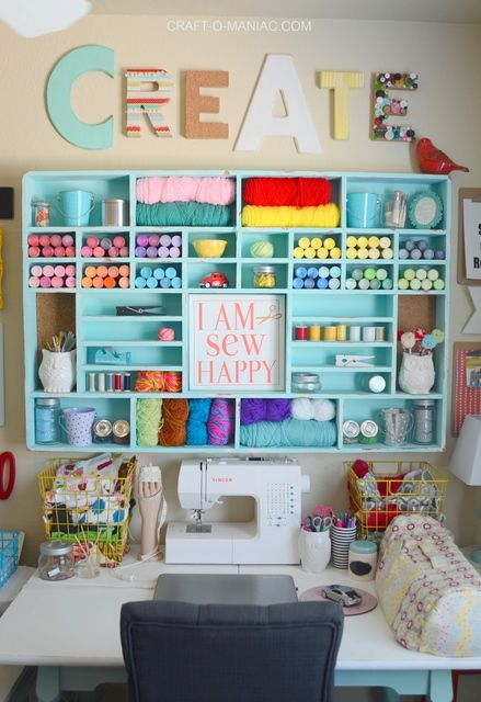25 best ideas about craft rooms on pinterest craft organization craft room storage and - Small space sewing area style ...