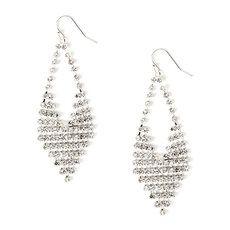 Mesh Crystal V Shaped Teardrop Drop Earrings