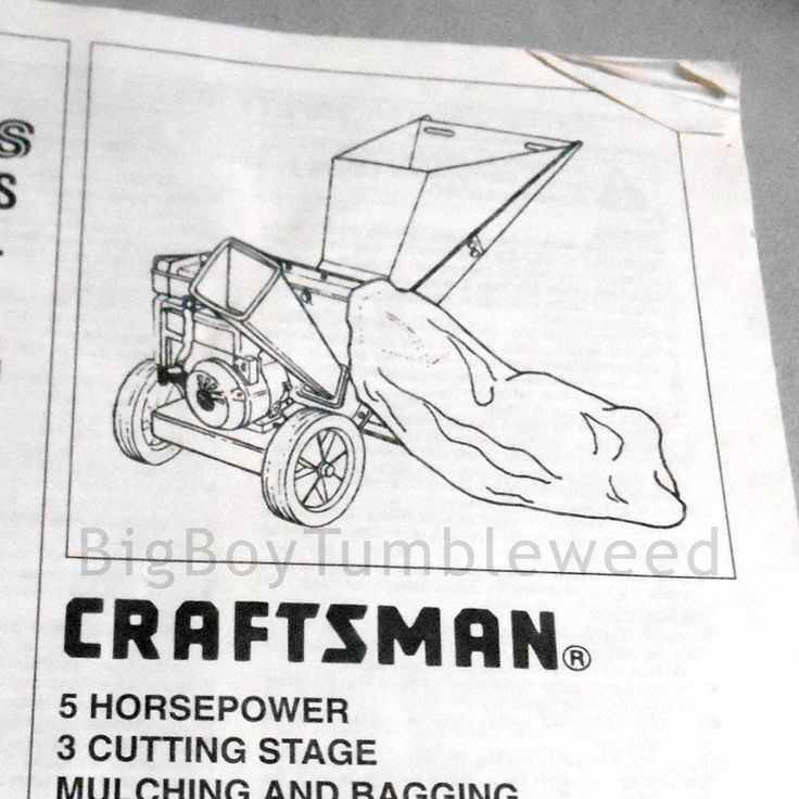 OWNERS MANUAL Sears CRAFTSMAN Shredder chipper mulching 247.795950 parts guide #Sears