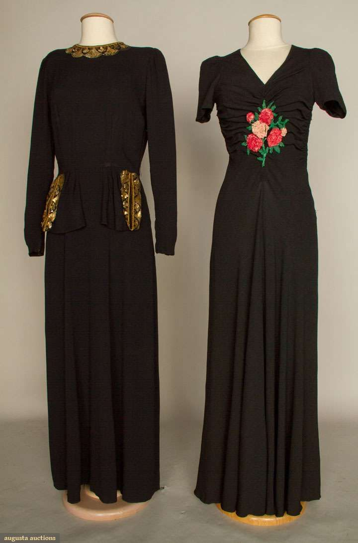 Augusta Auctions, April 17, 2013 - NYC, Lot 249: Two Black Evening Dresses, 1940s
