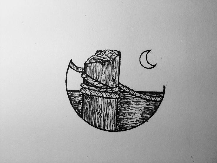 Wharf by night - felt pen fine art