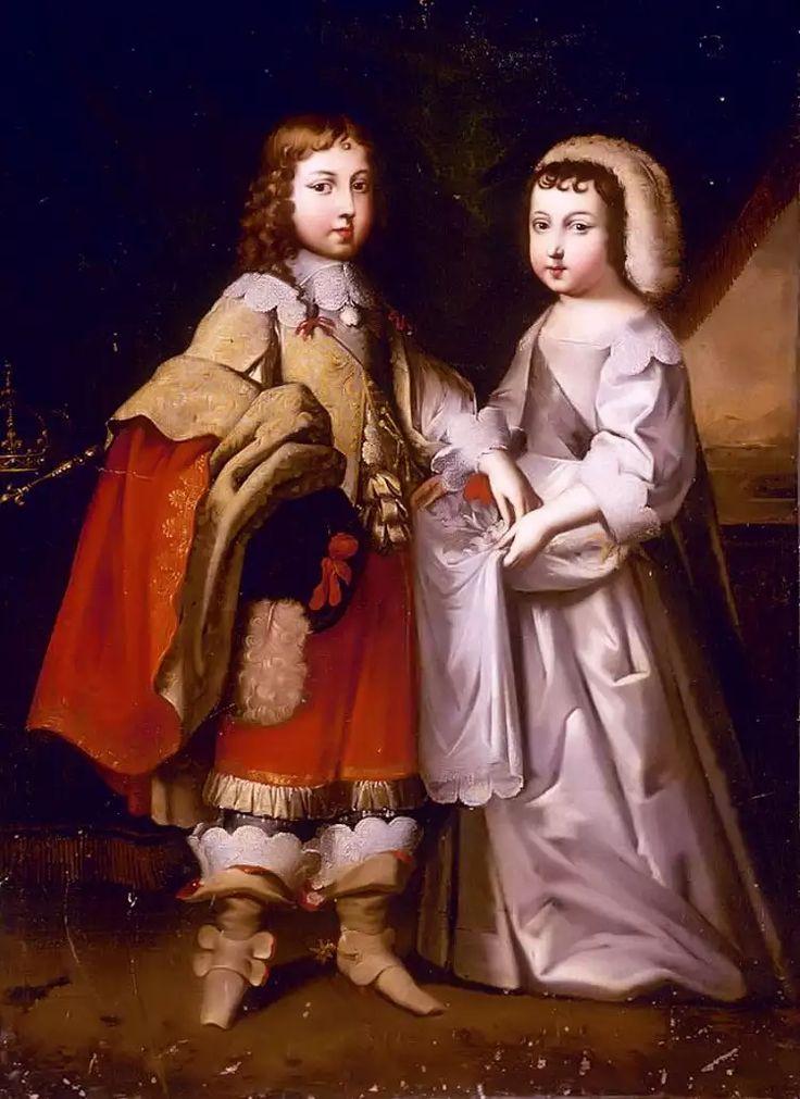 Louis XIV, roi de France, et son frère Philippe, duc d'Anjou puis d'Orléans