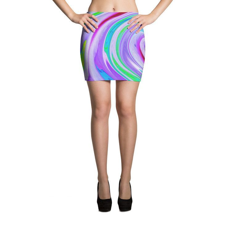 Mini Skirt, Groovy Abstract Red Swirl on Purple and Pink Short Skirt for Women a…