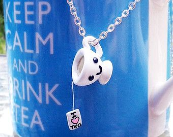 "Happy Teacup ""I Heart Tea"" Cute Necklace -- Handmade Polymer Clay Charm, Kawaii Jewelry for Tea Lovers, Silver - Plated Chain"