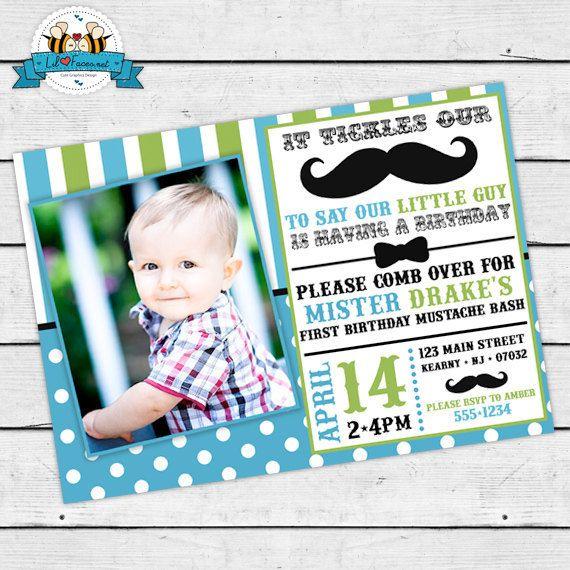 Little Man Mustache Bash Birthday Party Photo Invitations