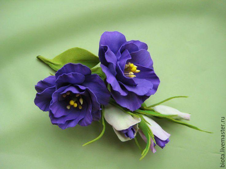 Купить РЕЗЕРВ. ЭУСТОМА фиолетовая.Бутоньерка-брошь. Фоамиран - фиолетовый, эустома, цветы из фоамирана