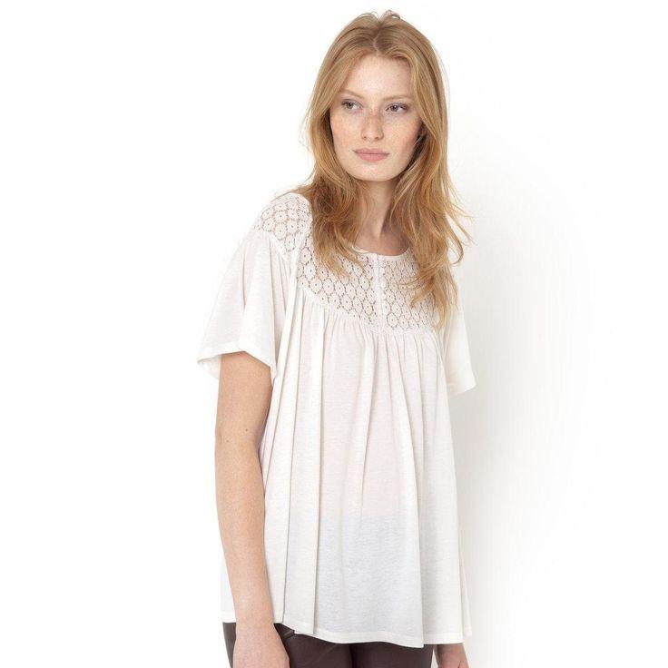 T shirt dentelle, manches courtes Soft Grey | La Redoute Soldes