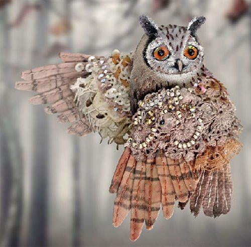 Miniature handmade brooch 'Owl'  Julia Gorina