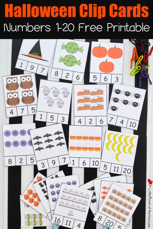 Free Printable Halloween Clip Cards: Counting 1-20 | A Little Pinch of Perfect