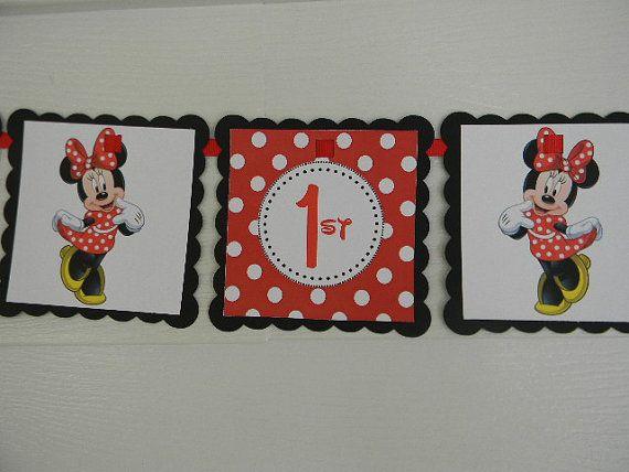 Bandera roja Minnie Birthday por BabycakesCakeToppers en Etsy