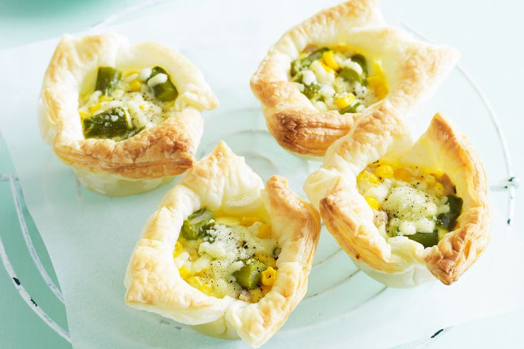 Chicken, corn and asparagus tarts. These are essentially mini quiches, but I think they look a bit more stylish!