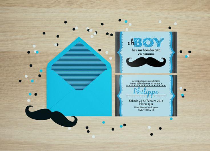 Diseño e impresión de Invitaciones con tema bigotes para el Baby ...