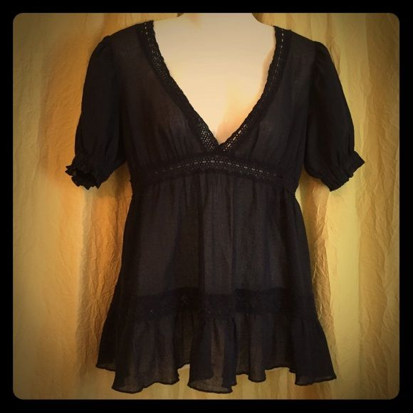 Cute navy blue top. Moda International. Navy blue top looks adorable worn over cami as its pretty sheer. Purchased from VS catalog worn only few times. Moda International Tops