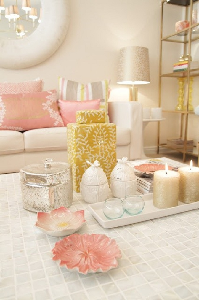 Blush and gold seating area would be perfect in a girly office