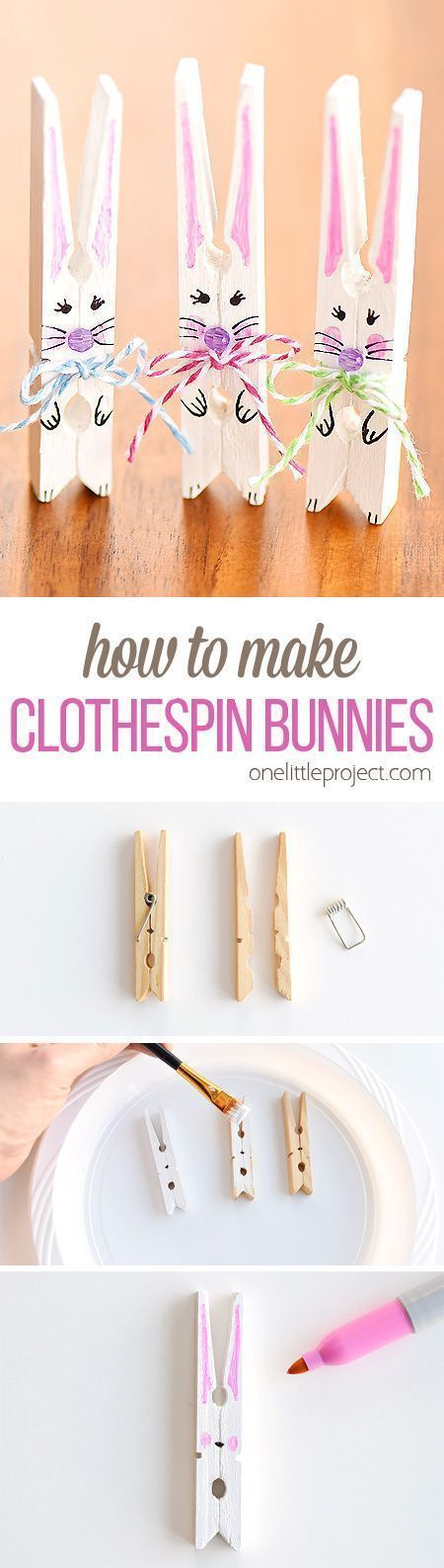 DIY Craft: These clothespin bunnies are so adorable and they're really simple to make! They're a great little Easter decoration and a super cute Easter craft to make with the kids. Such a fun and easy spring craft idea!
