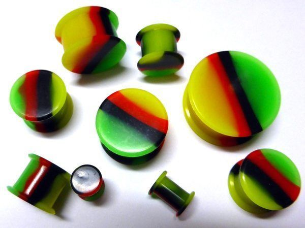 RASTA silicone Double Flare Ear Plug Tunnel gauge 6mm- 25mm *FREE AUSSIE POST*