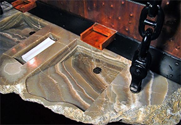 """Custom Onyx Vanity With 2 Hand Cut Sinks.  Hangs from ceiling on anchor chains.  For """"Barbacoa"""" restaurant in Boise, Idaho"""