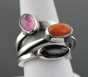 Art Smith modernist sterling silver ring with onyx, amber and amethyst 1950's Size 9 Weight - 17 grams Purchased from the original owner who acquired it directly from Art Smith Unmarked Auerbach & Maffia auerbachmaffia@aol.com Inquire for Price