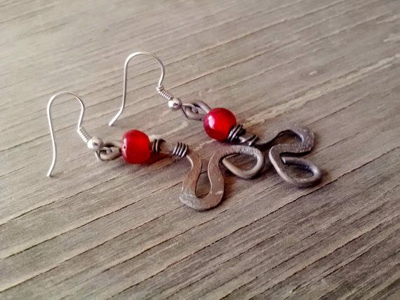 Red Glass Bead Rustic Hammered Copper by JennieVargasJewelry,