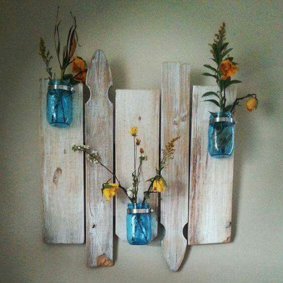 Repurposed barnwood and picket fence mason jar wall decor!  This one by: ByTheRiversideCrafts Etsy-not available