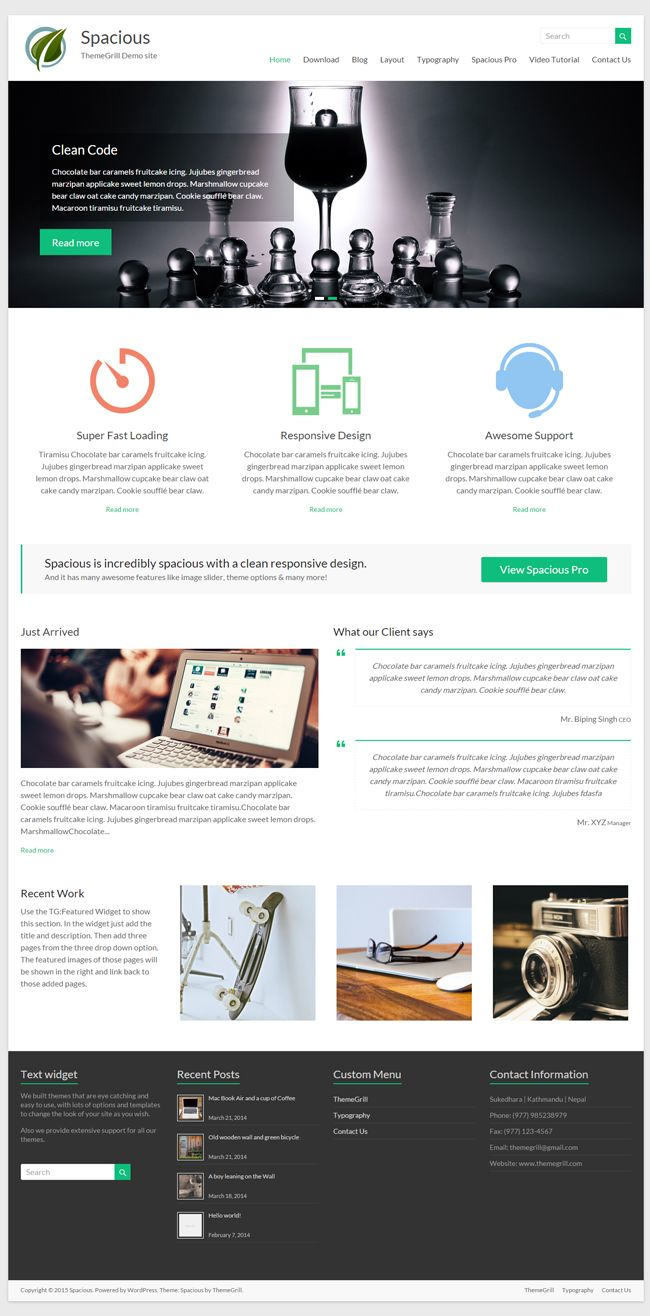 Website: Spacious - Responsive WordPress Website Theme (HTML5, CSS3, JS)