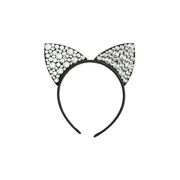 Clear Gem Black Cat Ear Headband Hot Topic (105 ARS) ❤ liked on Polyvore featuring accessories, hair accessories, fancy headbands, cat headband, cat hair accessories, hair bands accessories and hair band headband