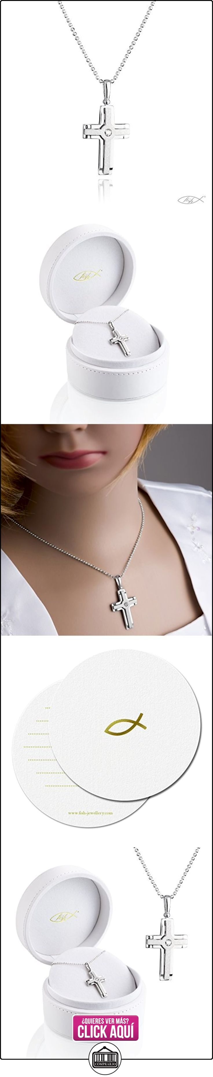 fish collar de plata para chicos, chicas, plata de ley 925 Elementos Swarovski colgante de cruz 42 cm  ✿ Joyas para niñas - Regalos ✿ ▬► Ver oferta: https://comprar.io/goto/B01D36ZEQ2