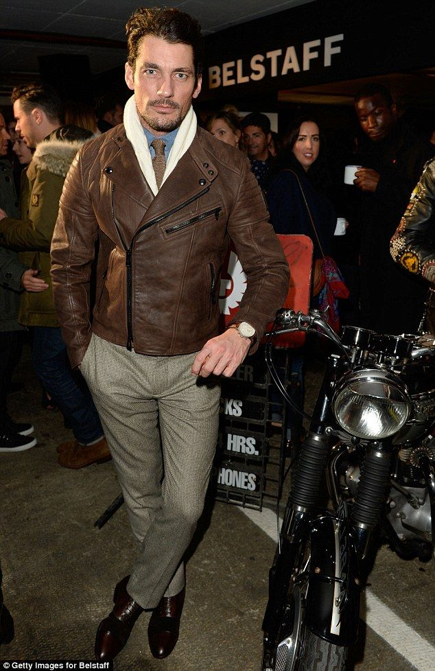 So suave: The handsome David Gandy turned heads when he strolled up to the Belstaff presents Ton Up Boys AW15 London Collections: Men show in London