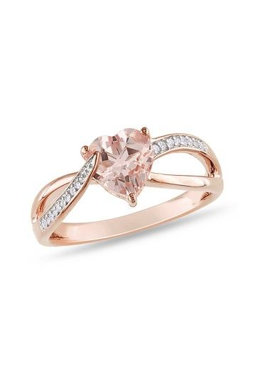 Two-Tone Diamond & Heart-Shaped Morganite Ribbon Fashion Ring by Blushing Bride: Rose Gold Jewelry on @HauteLook