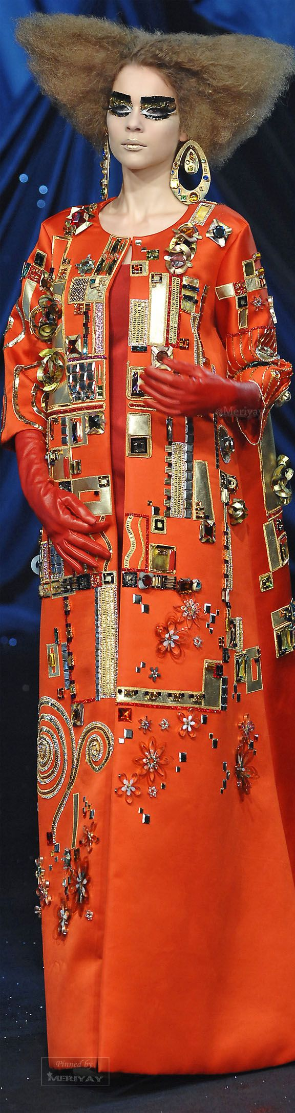 ♔Christian Dior Haute Couture Spring 2008 desisgned by John Galliano, inspired by Austrian painter Gustav Klimt. Model: Kim Noorda.