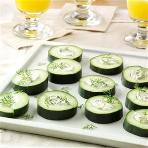 Stuffed Cuke Snacks Recipe -These cheese-filled slices look so pretty on an appetizer plate. —Dorothy Pritchett, Wills Point, Texas