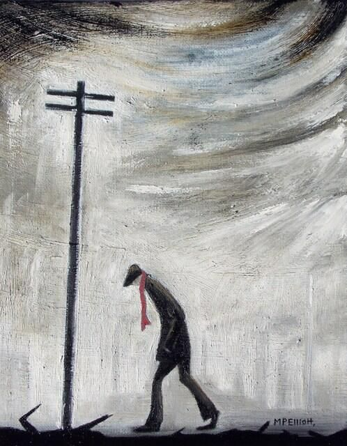 M P Elliott Nothern Artist oil painting entitled 'A man and a thousand thoughts...' influenced by L S Lowry and Theodore Major and the landscapes of Manchester, Lancashire and other Northern towns.