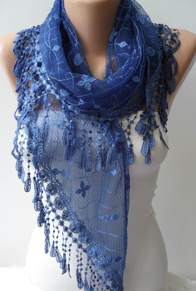 Dark Blue Laced Scarf with Trim Edge  - Speacial Laced Fabric - Triangular. $19.90, via Etsy.