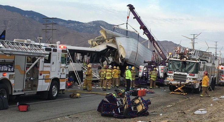 At least 13 people reported dead in california tour bus