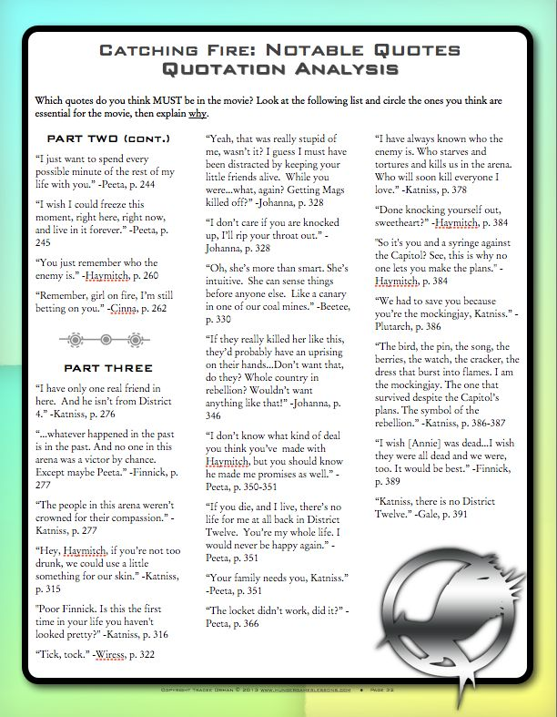 Catching Fire quotation analysis activity - use with the DVD