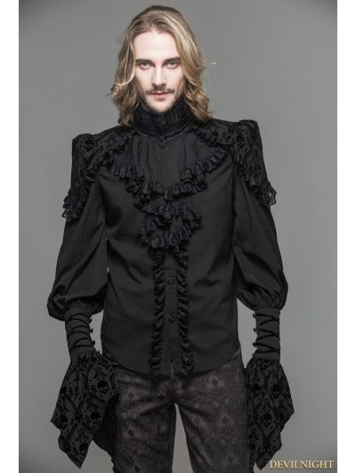 Men's Dress Shirt with Black Ruffles