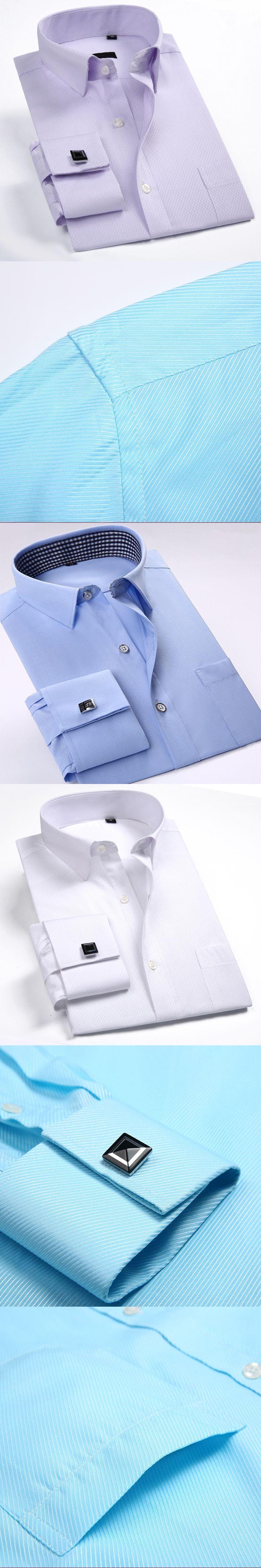 Men's French Shirt Cufflinks 2017 New Men's Shirt With Long Sleeve Casual Men's Brand Shirts Slim Fit French Cuffs Shirts Men