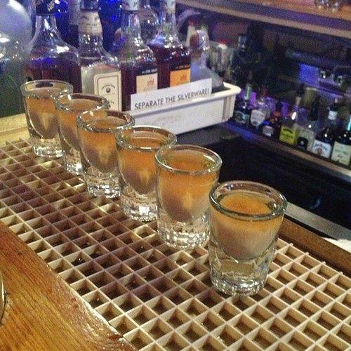 French Toast Shots  - 1/2 oz. Fireball Whiskey - 1/2 oz. Butterscotch Schnapps - 1/2 oz. Irish Cream Liquor  In a shaker, add ice,
