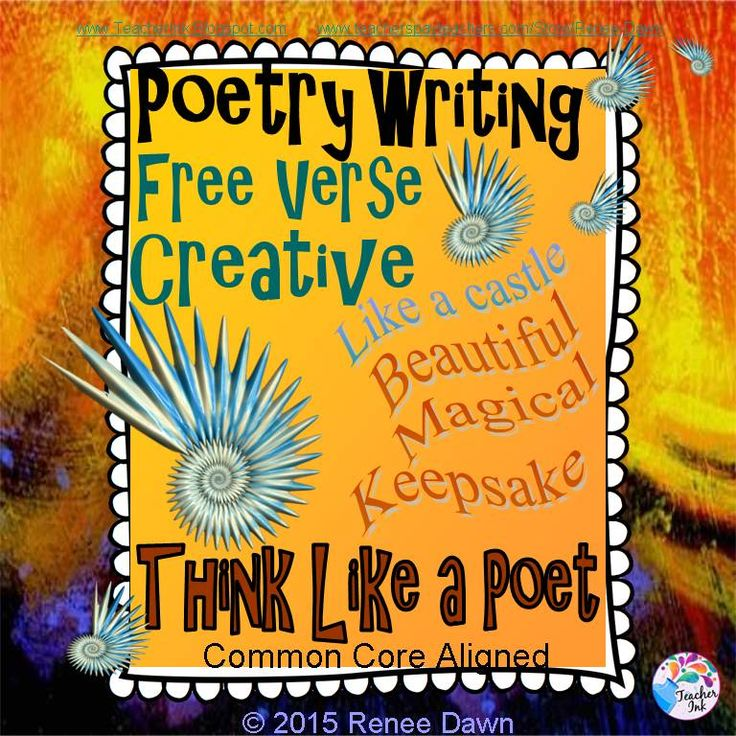 Poetry Writing: Kids create free verse poems that are breath-taking display pieces. Creative, divergent thinking pops off the page. Complete writer's workshop lessons—16 in all—will build poetry step-by-step. Lists, charts and examples support each lesson.  For K - 5.