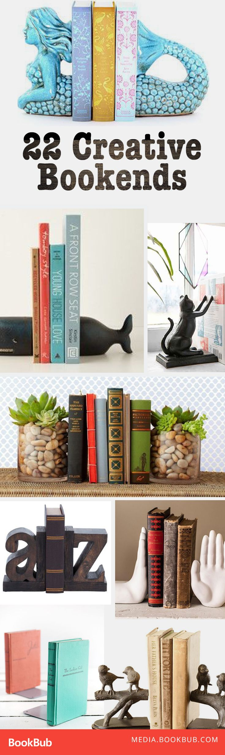 22 creative book ends. These would make perfect gifts for bookworms, or a great decorating idea to help style your bookshelf!