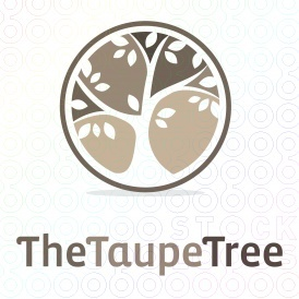 A tree with arching limbs and boughs of simple leaves is silhouetted in a circle of rich taupe colors makes a great logo template