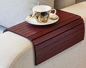 Sofa Tray Table wine red, Handmade TV tray, Wooden Coffee table, Lap desk for small spaces