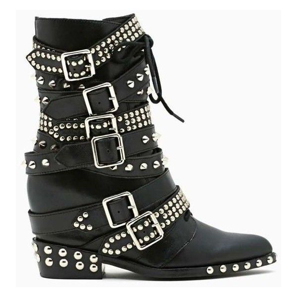 Jeffrey Campbell Draco Strapped Stud Boot ❤ liked on Polyvore featuring shoes, boots, black boots, studded boots, black studded boots, leather buckle boots and black strappy boots