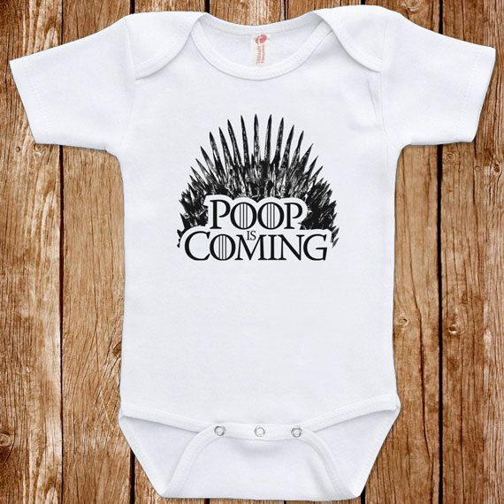 Funny Baby Infant Game Of Thrones Parody Poop Is Coming Bodysuit One Piece Clothes Romper Joke Boy Girl  Fun Geek Adorable Cute Shower Gift
