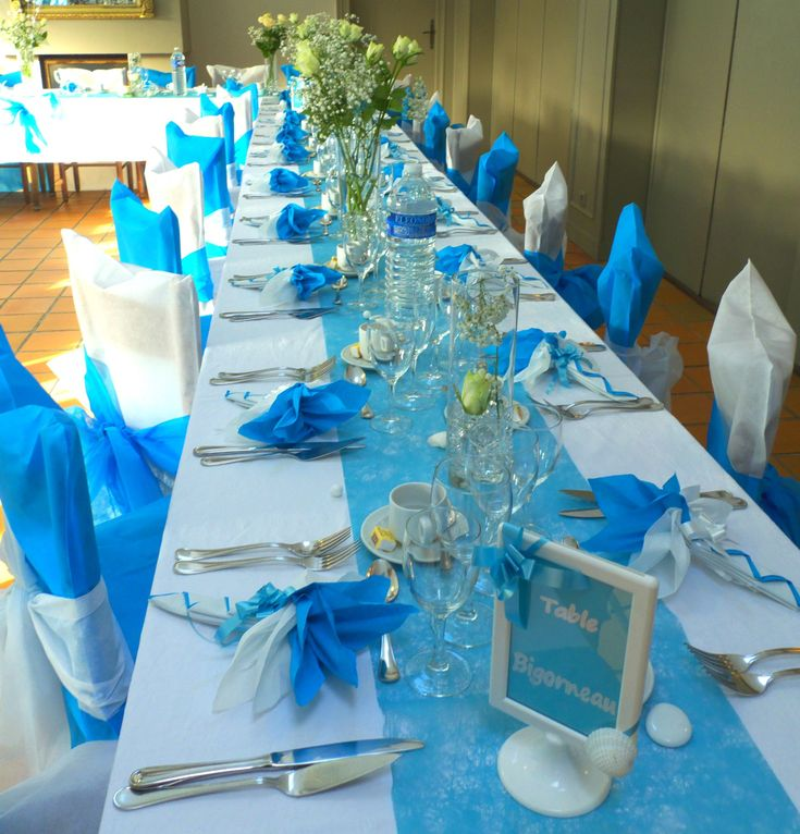 D co de table en bleu turquoise et blanc deco de table for Deco table blanc et gris